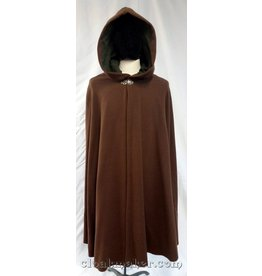 3709 - Brown Twill Wool Shaped Shoulder Cloak w/Green Faux Suede Hood Lining