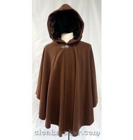 3713 - Chocolate Brown Twill Wool Ruana Cloak w/Brown Rayon Velvet Hood Lining