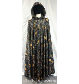 3714 - Hunter's Camo Fleece Full Circle Cloak w/Green Moleskin Hood Lining