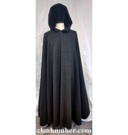 3695 - Variegated Green Wool Full Circle Cloak w/Black Moleskin Hood Lining