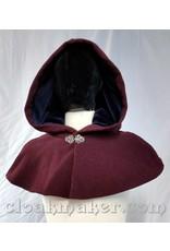 Cloak and Dagger Creations 3687 - Heathered Wine Wool Shape Shoulder Cloak w/Navy Velvet Hood Lining