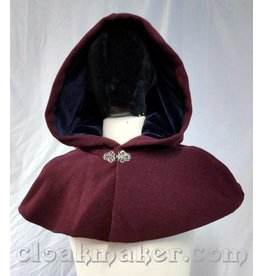 3687 - Heathered Wine Wool Shape Shoulder Cloak w/Navy Velvet Hood Lining