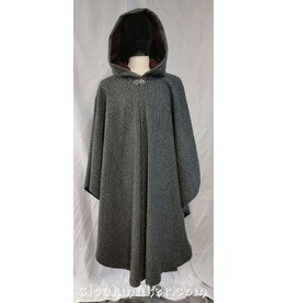 3680 - Black and White Chevron Wool Ruana Cloak w/Red Faux Suede Hood Lining