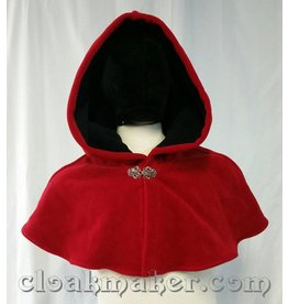 Cloak and Dagger Creations 3660 - Red Windbloc Fleece Shaped Shoulder Cloak w/Black Lining