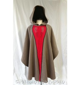 3652 - Grey Wool Ruana Cloak w/Hippocampus and Dragon Embroidery