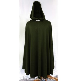 3644 -Green Wool Full Circle Ranger Cloak w/Green Moleskin Hood Lining