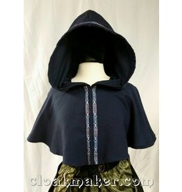 3633 - Blue Wool Full Circle Cloak w/Silver, Blue and Red Narrow Florentine Trim