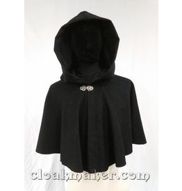 3616 - Black Basketweave Wool Full Circle Cloak w/Black Moleskin Hood Lining