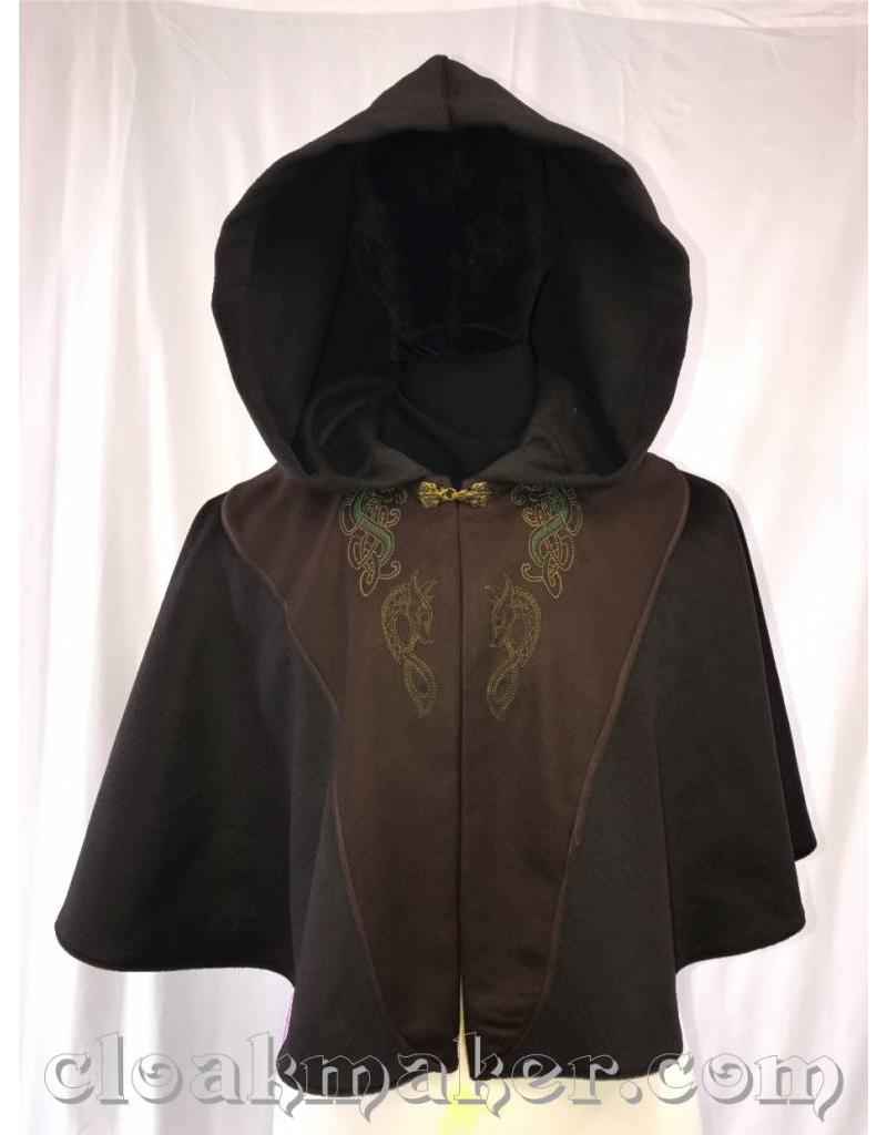 Cloak and Dagger Creations 3588 - Black Wool Cloak Green Hippocampus and Dragon Embroidery