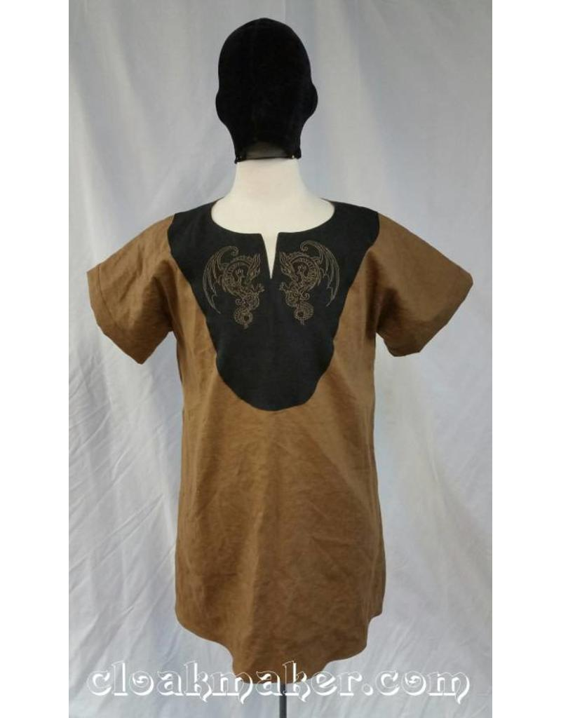 Cloak and Dagger Creations J567 -Brown Linen Viking Tunic with Dragon Embroidery on Black Applique