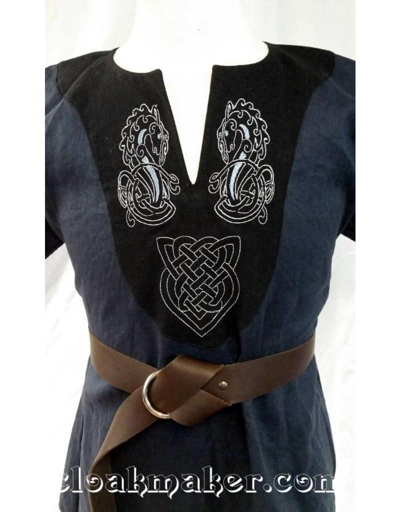J573 Blue Linen Viking Tunic With Hippocampus Embroidery On Black Applique S M Cloak Dagger Creations