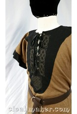 Cloak and Dagger Creations J575 -Light Brown Linen Viking Tunic w/Leather Laced Front and Knotwork Embroidery
