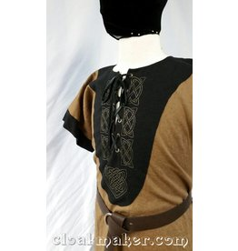 Cloak and Dagger Creations J575 -Brown Linen Viking Tunic w/Leather Laced Front and Knotwork Embroidery