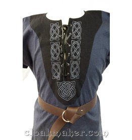 J576 -Blue Linen Viking Tunic w/Leather Laced Front and Knotwork Embroidery on Black Applique