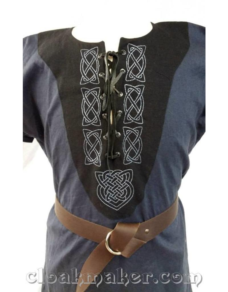 J576 Blue Linen Viking Tunic With Leather Laced Front And Knotwork Embroidery On Black Applique Medium Cloak Dagger Creations
