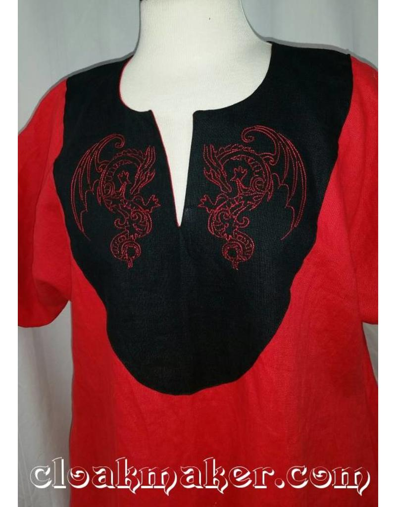 ba45ddfbb8d548 ... Celtic G971 - Red Linen Gown Dress with White Drapey Sleeves, Red  Dragon Embroidery, Celtic