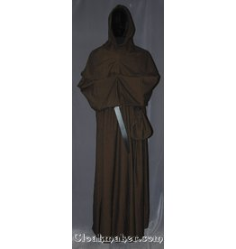 R383 - Brown and Black Chevron Wool Monk Robe with Detached Cowl, Rope Belt and Pouch