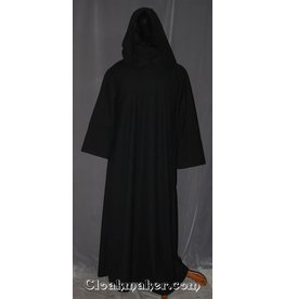 52bc76cedc4 R413 - Ink Black and Grey Woven Wool Monk Robe with Attached Cowl and Coin  Pouch