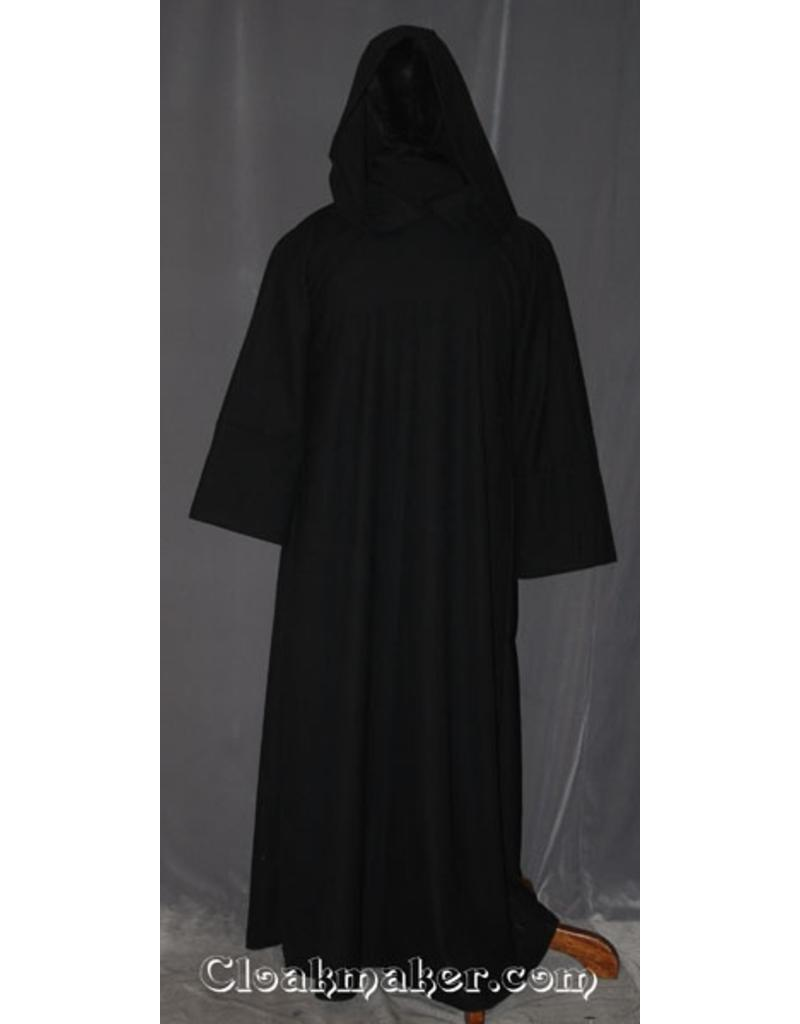 80fcd2b253 R413 - Ink Black and Grey Woven Wool Monk Robe with Attached Cowl and Coin  Pouch ...