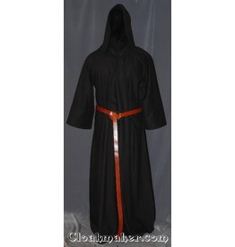 R406 - Dark Brown Twill Wool Monk Robe with Attached Cowl