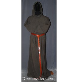 R405 - Heathered Brown Grey and Black Wool Monk Robe with Attached Cowl, White Belt Rope and Pouch