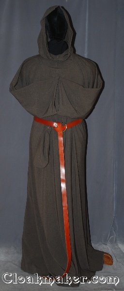 2d6120b727 R405 - Heathered Brown Grey and Black Wool Monk Robe with Attached Cowl