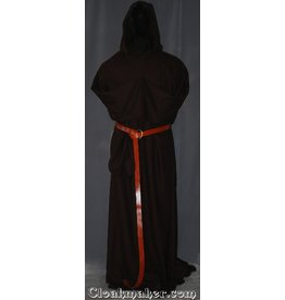 R403 - Trappist Brown Wool Crepe Monk Robe with Attached Cowl, White Rope Belt and Pouch