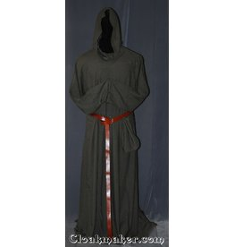 R401 - Warm Slate Brown Cotton Monk Robe with Attached Cowl, White Rope Belt and Pouch
