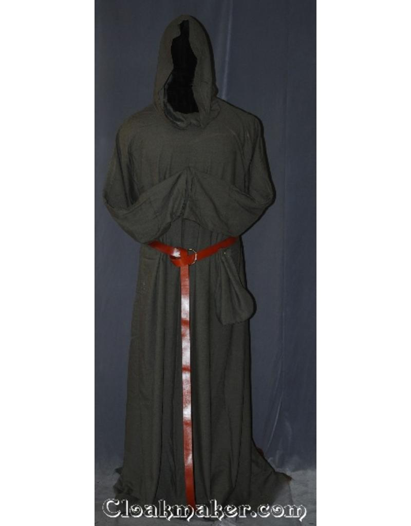 52710c930a R401 - Warm Slate Brown Cotton Monk Robe with Attached Cowl