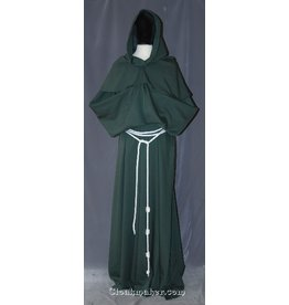 R397 - Olive Green Polyester Monk Robe with Detached Cowl, White Rope Belt and Pouch