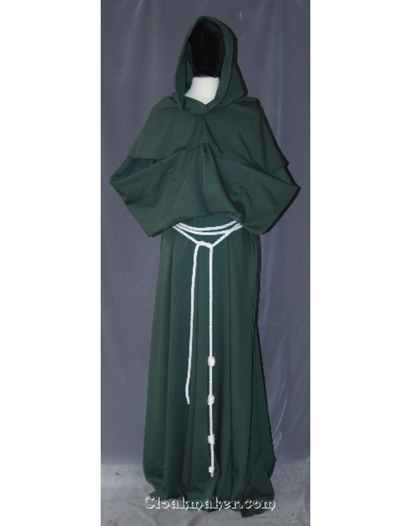Cloak and Dagger Creations R397 - Olive Green Polyester Monk Robe with Detached Cowl