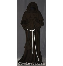R396 - Brown Linen Monk Robe with Detached Cowl, White Rope Belt and Pouch