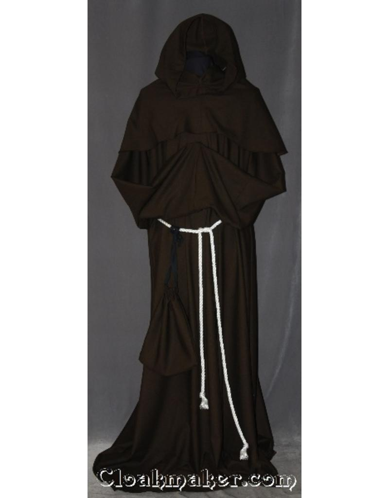Cloak and Dagger Creations R396 - Brown Linen Monk Robe with Detached Cowl