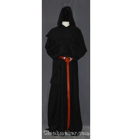R394 - Black Linen Monk Robe with Detached Cowl, White Rope Belt and Pouch