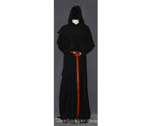 cd93027f72 R394 - Black Linen Monk Robe with Detached Cowl