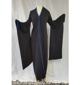 R424 - Black Ribbed Polyester Kimono with Blue Raw Silk Edges