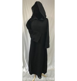 R423 - Black Wool Monk Robe with Attached Cowl
