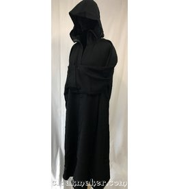 R422 - Black Wool Monk Robe with Attached Cowl