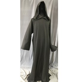 R418 - Black and Dark Brown Twill Wool Monk Robe with Attached Cowl
