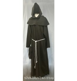 R427 - Heathered Greyish Dark Brown Wool Monk Robe with Detached Pointed Cowl, White Rope Belt and Pouch