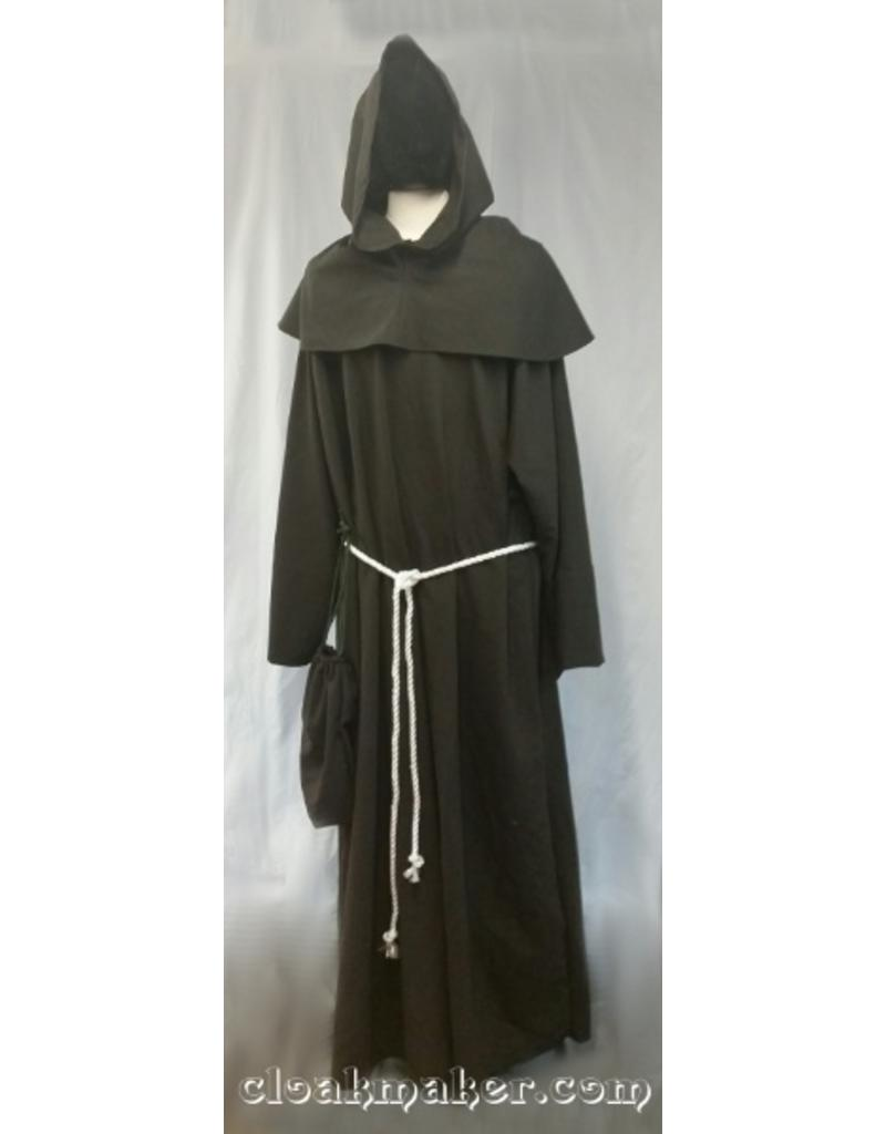 Cloak and Dagger Creations R427 - Heathered Greyish Dark Brown Wool Monk Robe with Detached Pointed Cowl, White Rope Belt and Pouch