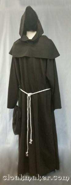 e9c439f25b R427 - Heathered Greyish Dark Brown Wool Monk Robe with Detached Cowl
