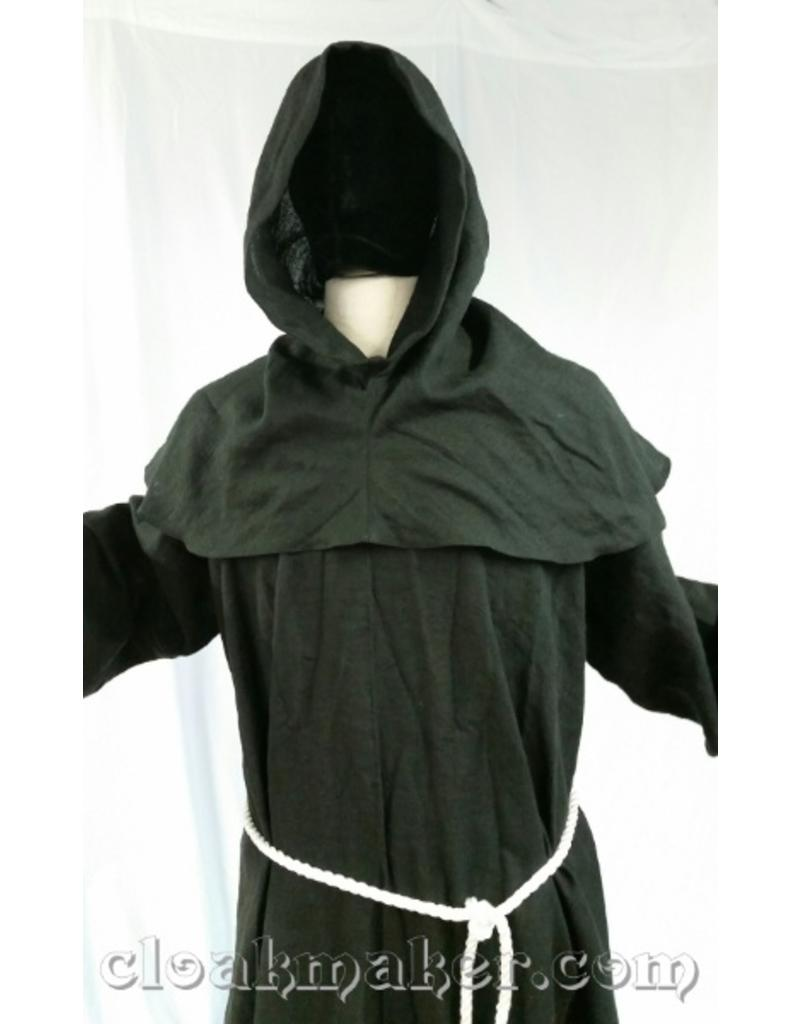 140d79cdbd ... R426 - Black Linen Monk Robe with Detached Cowl and White Rope Belt ...