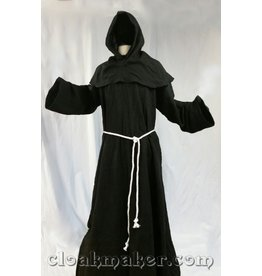 R426 - Black Linen Monk Robe with Detached Cowl and White Rope Belt
