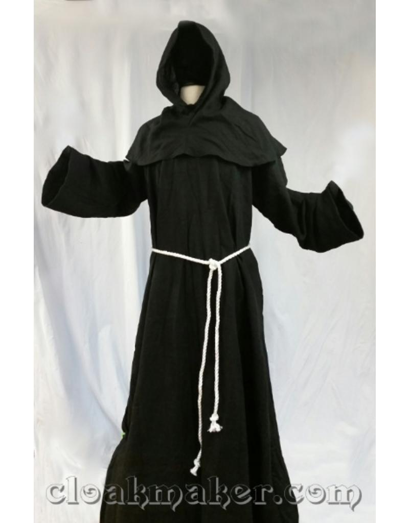 db687fcbf0 R426 - Black Linen Monk Robe with Detached Cowl and White Rope Belt ...