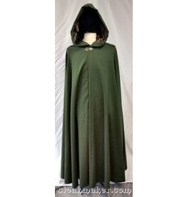 3737 - Pine Green Wool Full Circle Cloak with Brown Velvet Hood Lining
