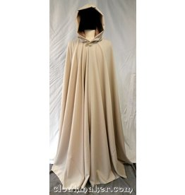 3732 - Light Tan Polyester Full Circle Cloak with Soft Gold Faux Suede Hood Lining