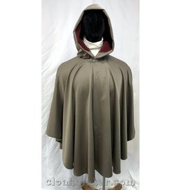 3745 - Taupe Lightweight Polyester Ruana Cloak with Dusty Burgundy Moleskin Hood Lining