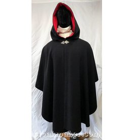 3749 - Black Rustic Twill Wool Ruana Cloak with Crimson Red Velvet Hood Lining