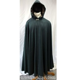 3751 - Dark Hunter Green 100% Wool Camel Hair Full Circle Cloak with Brown Velvet Hood Lining